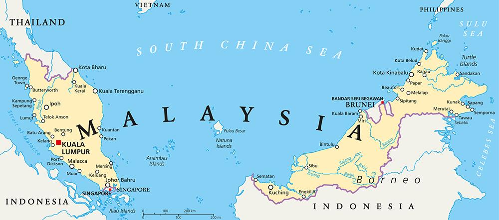 Malaysia and Borneo Map
